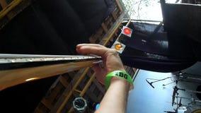 Primo piano di Bass Guitar stock footage