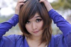 Primo piano di bella ragazza asiatica Fotografia Stock Libera da Diritti