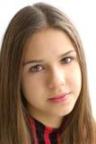 Primo piano di bella ragazza su priorità bassa bianca Fotografia Stock Libera da Diritti