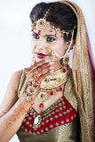 Primo piano di bella sposa indiana Fotografie Stock
