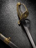 Primo piano di bella vecchia sciabola della spada con una guaina contro la a Immagini Stock