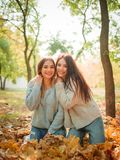 Primo piano di belle ragazze, sorelle dei gemelli, nel parco di autunno Immagini Stock