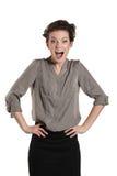 Primo piano di bello sorridere della donna akimbo Fotografia Stock