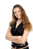 Primo piano di bello sorridere della giovane donna fotografie stock libere da diritti