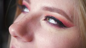 Primo piano di bello trucco femminile degli occhi azzurri Occhi affumicati perfetti stock footage