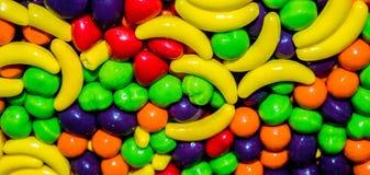 Primo piano di Candy nel caso fondo Fotografie Stock
