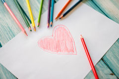 Primo piano di cuore dipinto rosso Fotografia Stock
