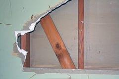 Primo piano di demolizione del muro a secco Fotografia Stock Libera da Diritti