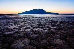Primo piano di erosione del suolo Disastro ecologico fotografia stock libera da diritti