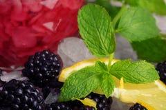 Primo piano di fragrante, foglie verdi della menta, fette sippy di limone, more e un vetro di succo su un variopinto Immagine Stock
