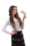 Primo piano di giovane bella donna con il dollaro americano soldi in mano OV Fotografia Stock Libera da Diritti