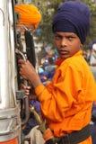 Primo piano di giovane ragazzo sikh Fotografie Stock