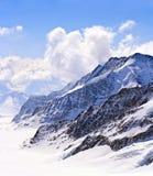 Primo piano di grande ghiacciaio di Aletsch, Jungfraujoch Immagine Stock Libera da Diritti