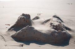 Primo piano di ieri del castello di sabbia Immagini Stock Libere da Diritti