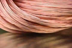 Primo piano di industria delle materie prime e di metalli del filo di rame fotografia stock libera da diritti