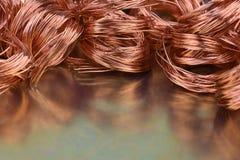Primo piano di industria delle materie prime e di metalli del filo di rame fotografie stock