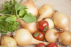 Primo piano di intere cipolle del rendimento ecologico di autunno, pomodori ciliegia e basilico e prezzemolo freschi al sole Immagini Stock Libere da Diritti