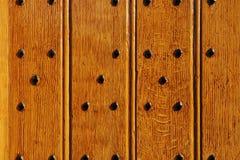 Primo piano di legno del cancello del castello durevole Fotografia Stock Libera da Diritti