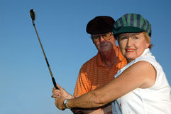 Primo piano di lezione di golf Immagine Stock
