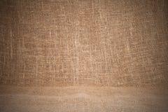 Primo piano di licenziamento naturale della tela di iuta della tela da imballaggio Struttura u del fondo Fotografie Stock Libere da Diritti