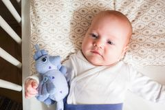 Primo piano di menzogne del neonato sveglio Fotografia Stock Libera da Diritti