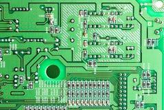 Primo piano di micro circuito, resistori e chip della a Immagini Stock Libere da Diritti