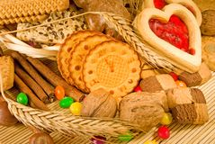 Primo piano di molti biscotti Fotografia Stock