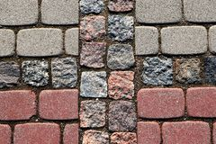 Primo piano di pavimentazione grigia e rossa immagini stock libere da diritti