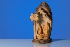 Primo piano di piccola greppia di legno di natale immagini stock libere da diritti