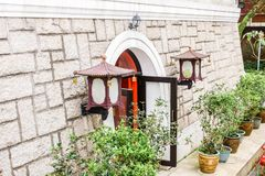 Primo piano di piccolo achitecture in Po Lin Monastery, Hong Kong immagine stock libera da diritti