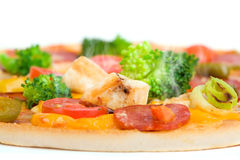 Primo piano di pizza fresca Fotografie Stock Libere da Diritti