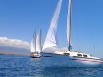 Primo piano di poco yach di navigazione Fotografia Stock