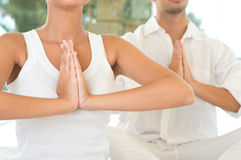 Primo piano di posa di yoga Fotografia Stock