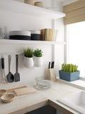 Primo piano di progettazione della stanza della cucina Fotografia Stock