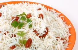 Primo piano di riso e dei fagioli Fotografie Stock
