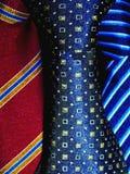 Primo piano di seta delle cravatte Fotografia Stock