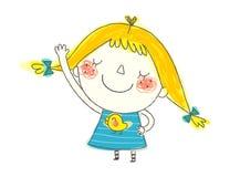 Primo piano di sorridere della ragazza illustrazione di stock