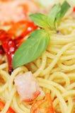 Primo piano di spaghetti con la spezia fotografia stock
