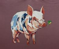 Primo piano di struttura della pittura acrilica del fumetto del maiale immagini stock