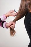 Primo piano di taglio di capelli fotografia stock