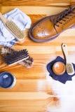 Primo piano di Tan Brogue Leather Boot premio immagine stock