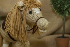 Primo piano di Toy Horse fatto a mano Fotografia Stock Libera da Diritti