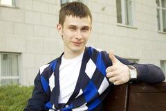 Primo piano di un allievo maschio attraente Fotografia Stock Libera da Diritti