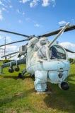 Primo piano di un attacco con elicottero russo leggendario, Mi-24 Immagini Stock Libere da Diritti