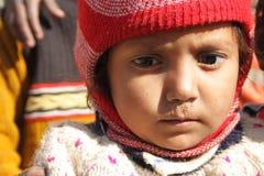 Primo piano di un bambino povero in India Fotografia Stock Libera da Diritti