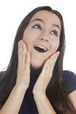 Primo piano di un distogliere lo sguardo sorpreso giovane donna Fotografie Stock Libere da Diritti