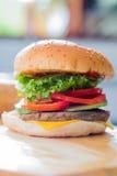 Primo piano di un hamburger del formaggio Fotografia Stock Libera da Diritti