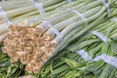 Primo piano di un mazzo fresco di porro al mercato degli agricoltori, allium a Immagine Stock Libera da Diritti