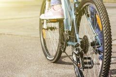Primo piano di un meccanismo e di una catena di ingranaggi della bicicletta sulla ruota posteriore del mountain bike Fotografia Stock