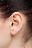 Primo piano di un orecchio della donna e dei capelli neri fotografia stock libera da diritti